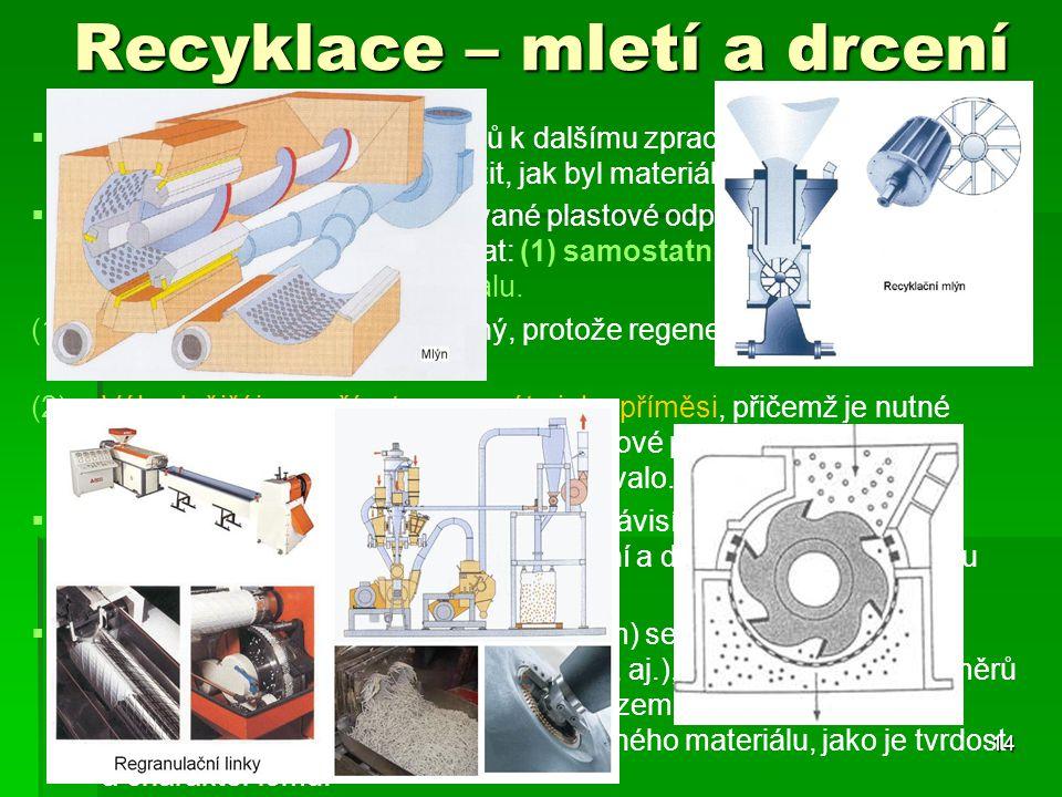 Recyklace – mletí a drcení   Při použití jednotlivých odpadů k dalšímu zpracování je nutné si uvědomit jejich původ a zvážit, jak byl materiál dříve