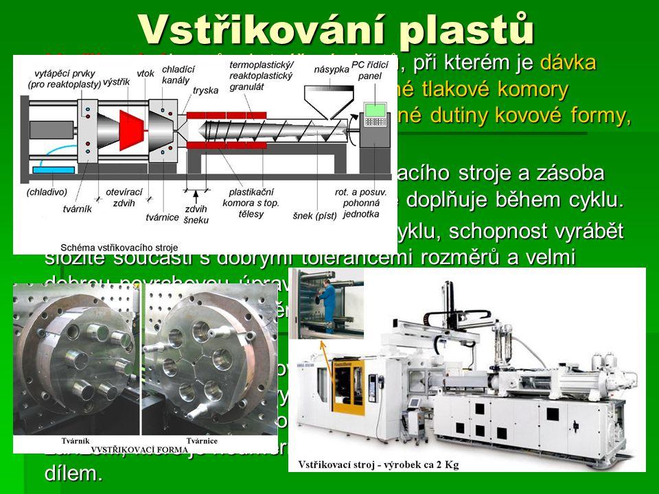  Vstřikování je způsob tváření plastů, při kterém je dávka zpracovávaného materiálu z pomocné tlakové komory vstříknuta velkou rychlostí do uzavřené