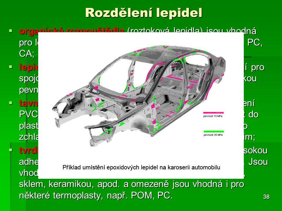 Rozdělení lepidel  organická rozpouštědla (roztoková lepidla) jsou vhodná pro lepení termoplastů, jako je PS, SAN, ABS, PMMA, PC, CA;  lepidla na bá