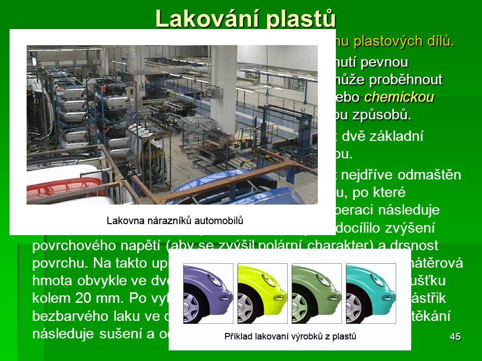 Lakování plastů Vytváření tenkého organického povlaku na povrchu plastových dílů. Nanesená hmota v tenké vrstvě vytváří po zaschnutí pevnou povrchovou