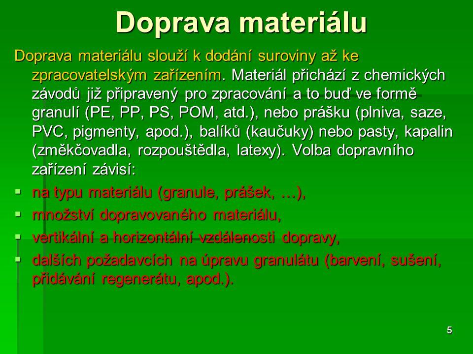 Doprava materiálu Doprava materiálu slouží k dodání suroviny až ke zpracovatelským zařízením. Materiál přichází z chemických závodů již připravený pro