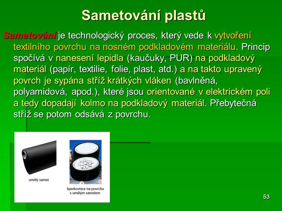 Sametování je technologický proces, který vede k vytvoření textilního povrchu na nosném podkladovém materiálu. Princip spočívá v nanesení lepidla (kau