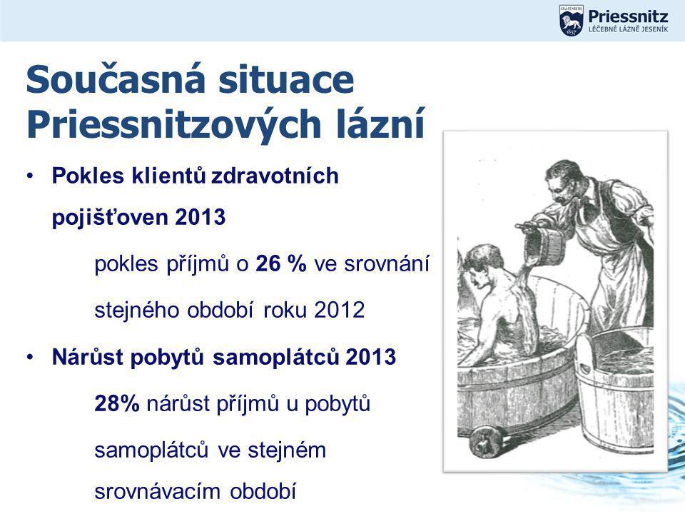 Současná situace Priessnitzových lázní Pokles klientů zdravotních pojišťoven 2013 pokles příjmů o 26 % ve srovnání stejného období roku 2012 Nárůst pobytů samoplátců 2013 28% nárůst příjmů u pobytů samoplátců ve stejném srovnávacím období