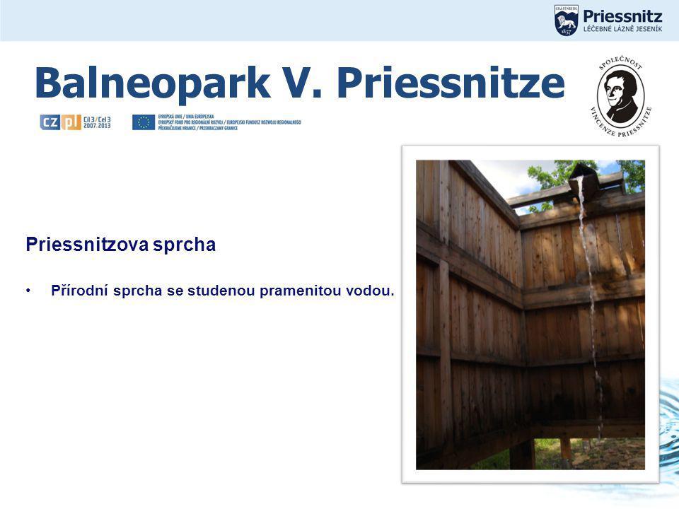 Kliknutím lze upravit styl. Priessnitzova sprcha Přírodní sprcha se studenou pramenitou vodou.