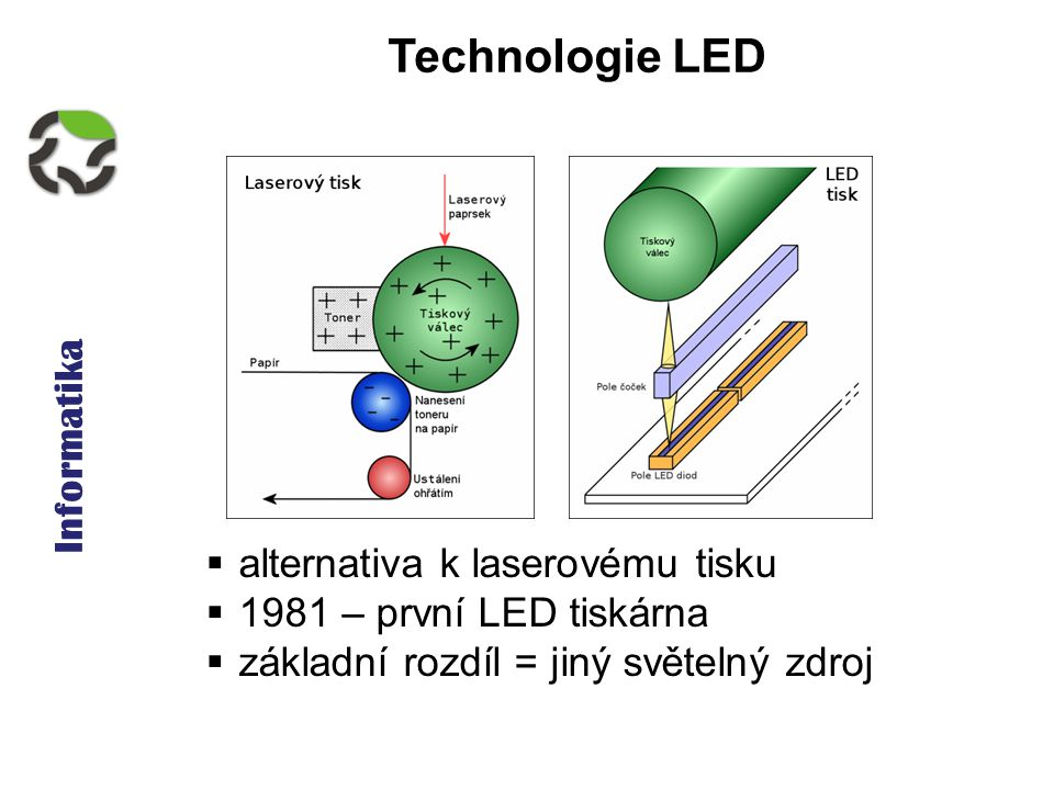 Informatika Technologie LED  alternativa k laserovému tisku  1981 – první LED tiskárna  základní rozdíl = jiný světelný zdroj