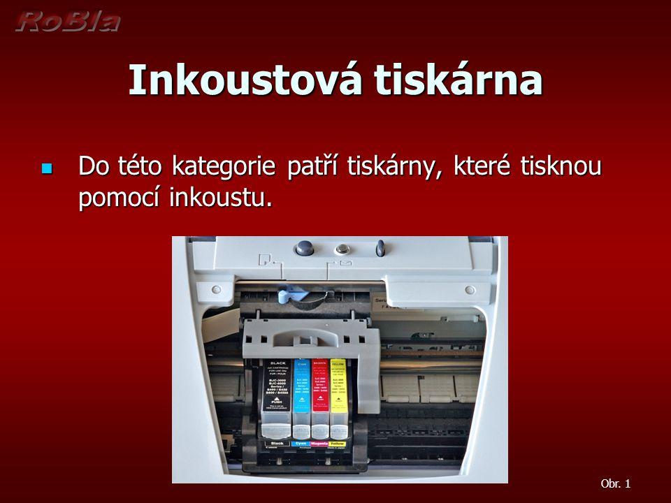 Inkoustová tiskárna Do této kategorie patří tiskárny, které tisknou pomocí inkoustu. Do této kategorie patří tiskárny, které tisknou pomocí inkoustu.