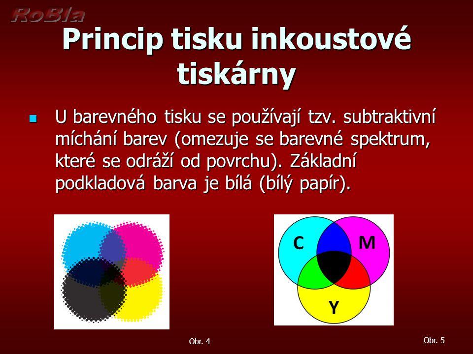 Princip tisku inkoustové tiskárny U barevného tisku se používají tzv. subtraktivní míchání barev (omezuje se barevné spektrum, které se odráží od povr
