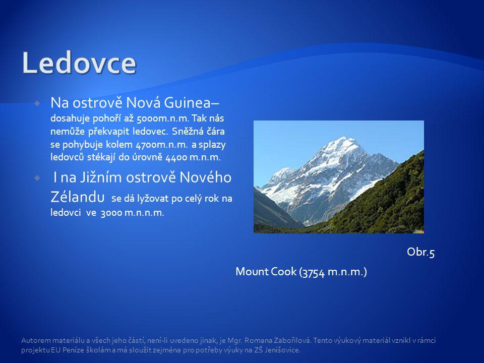  Na ostrově Nová Guinea– dosahuje pohoří až 5000m.n.m. Tak nás nemůže překvapit ledovec. Sněžná čára se pohybuje kolem 4700m.n.m. a splazy ledovců st