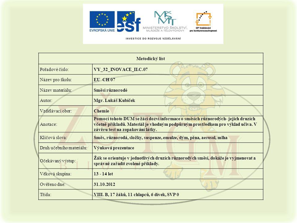 Metodický list Pořadové číslo:VY_32_INOVACE_II.C.07 Název pro školu:EU CH 07 Název materiálu:Směsi různorodé Autor:Mgr. Lukáš Kubíček Vzdělávací obor: