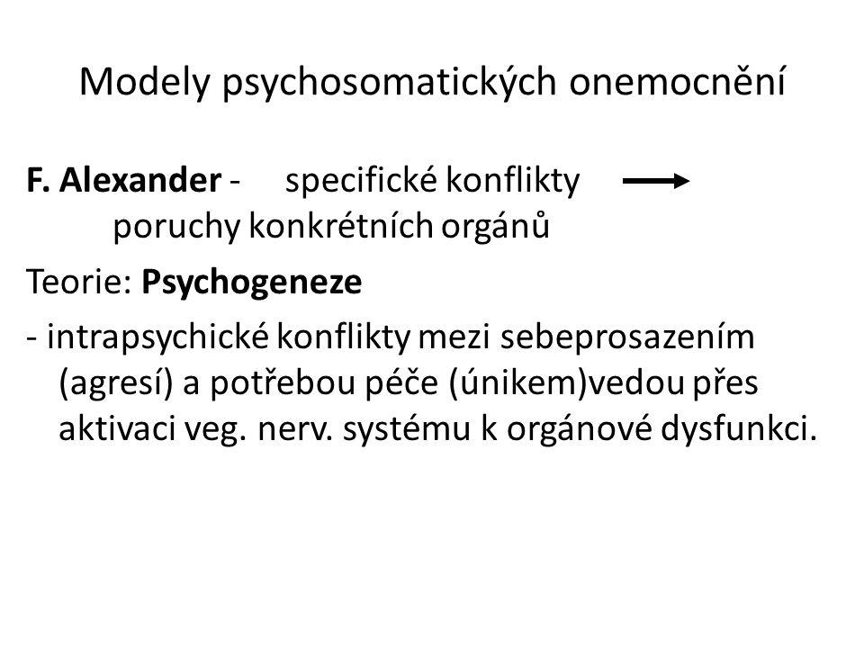 Modely psychosomatických onemocnění F. Alexander -specifické konflikty poruchy konkrétních orgánů Teorie: Psychogeneze - intrapsychické konflikty mezi