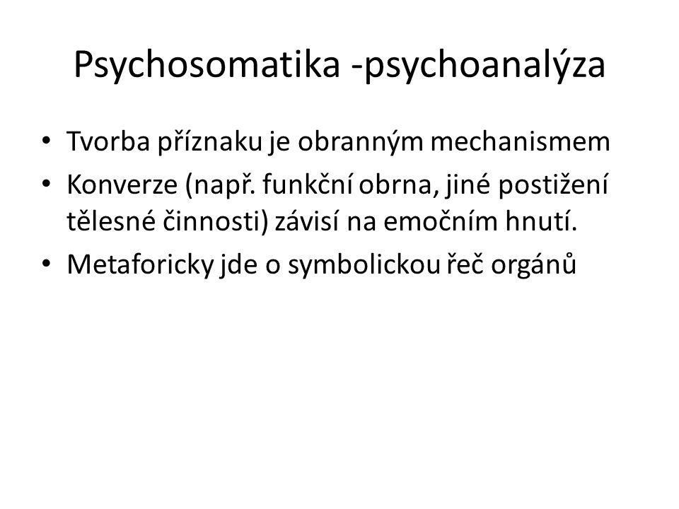 Psychosomatika -psychoanalýza Tvorba příznaku je obranným mechanismem Konverze (např. funkční obrna, jiné postižení tělesné činnosti) závisí na emoční