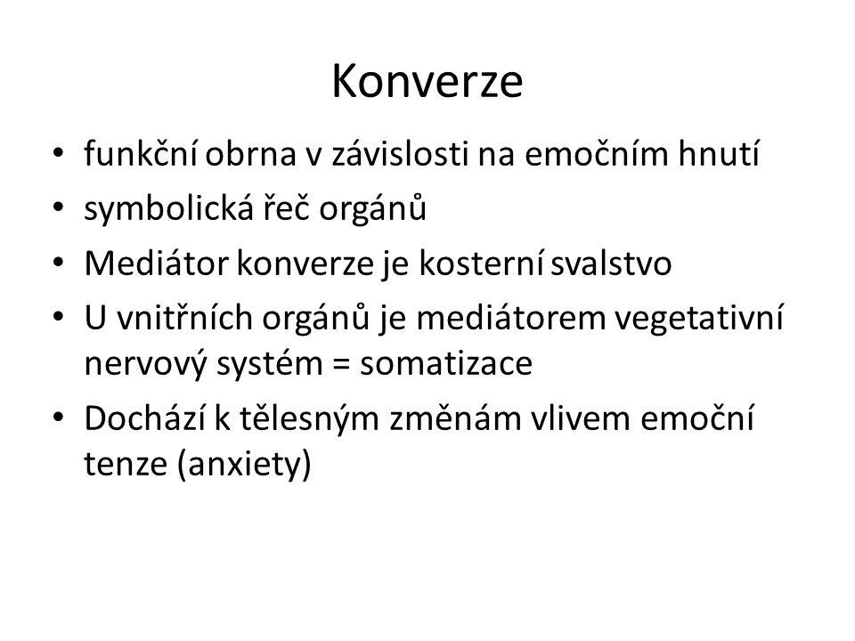Konverze funkční obrna v závislosti na emočním hnutí symbolická řeč orgánů Mediátor konverze je kosterní svalstvo U vnitřních orgánů je mediátorem veg