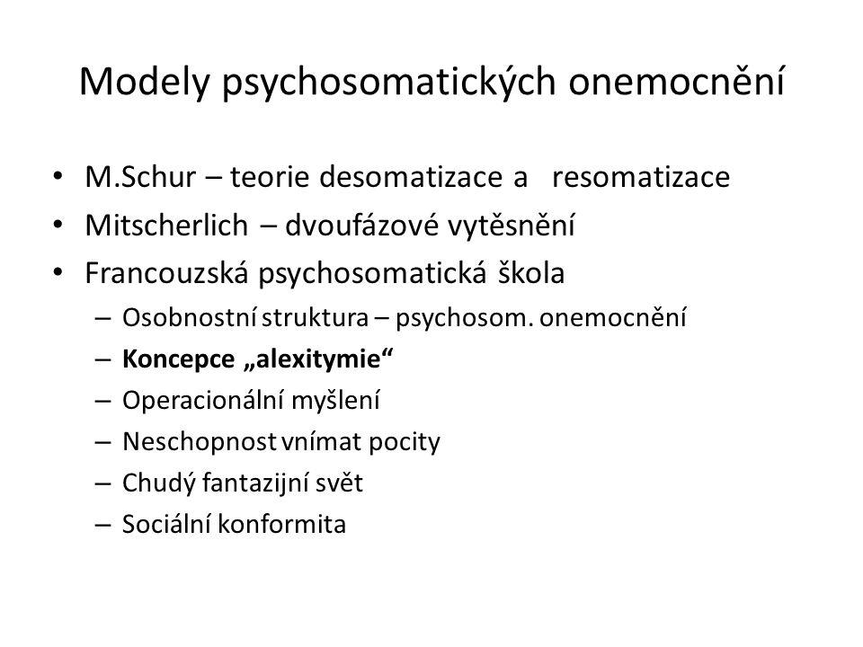 Modely psychosomatických onemocnění M.Schur – teorie desomatizace a resomatizace Mitscherlich – dvoufázové vytěsnění Francouzská psychosomatická škola