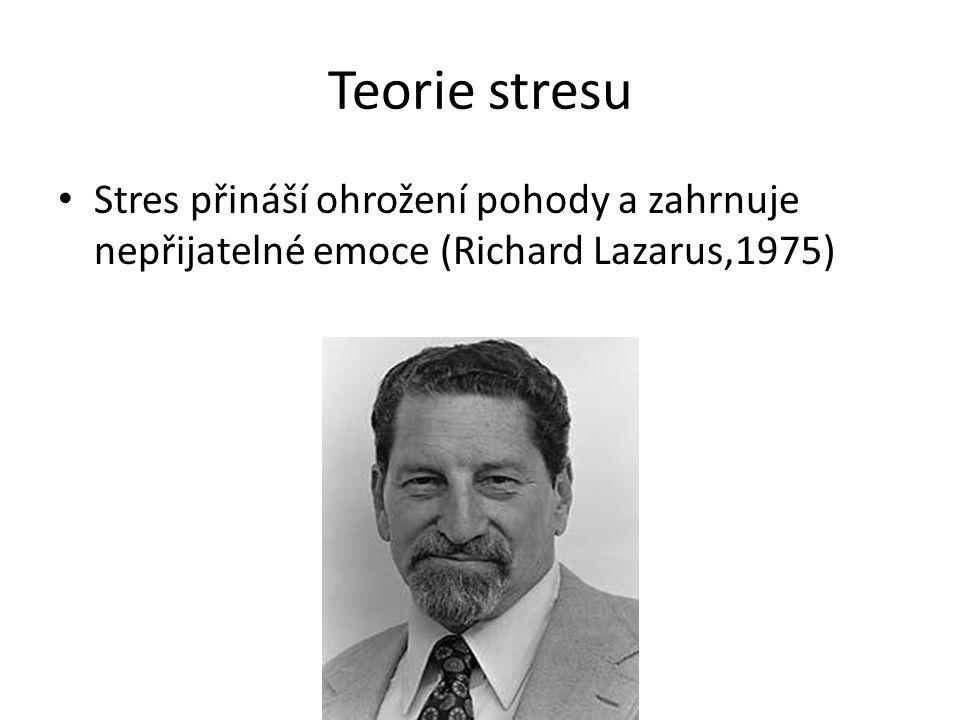 Kognitivní teorie stresu Autor: Richard Lazarus, 1975 Člověk reaguje na ohrožení jako na ohrožení tehdy, když ho za ohrožení považuje.