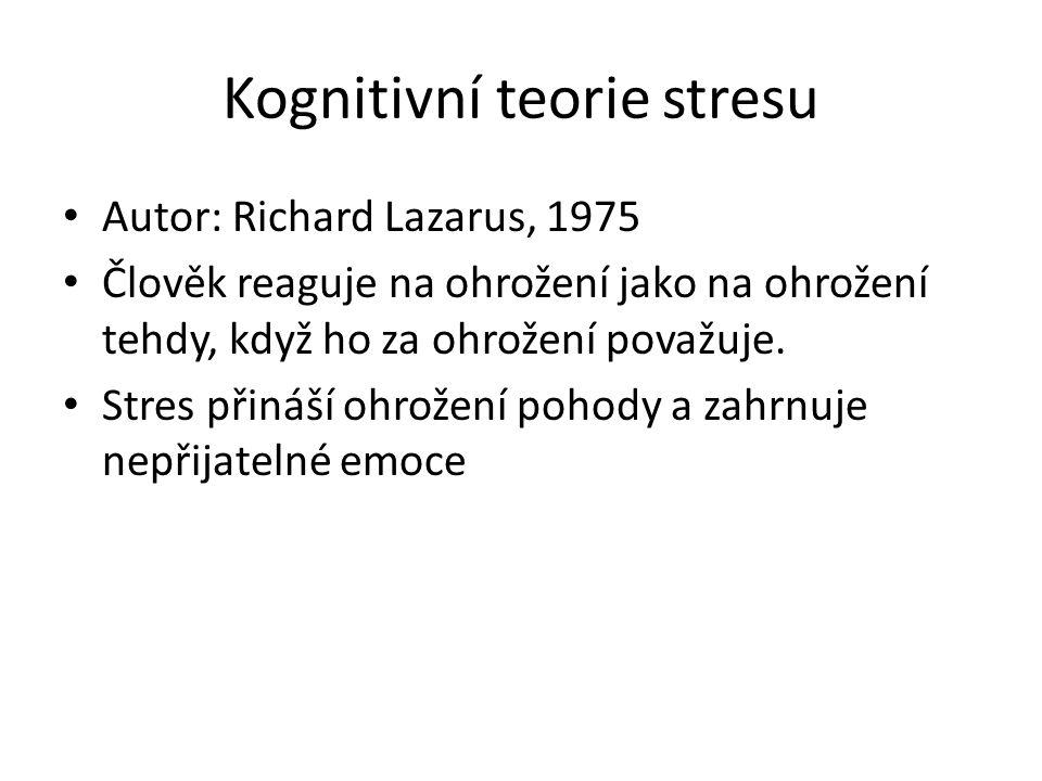 Kognitivní teorie stresu Autor: Richard Lazarus, 1975 Člověk reaguje na ohrožení jako na ohrožení tehdy, když ho za ohrožení považuje. Stres přináší o