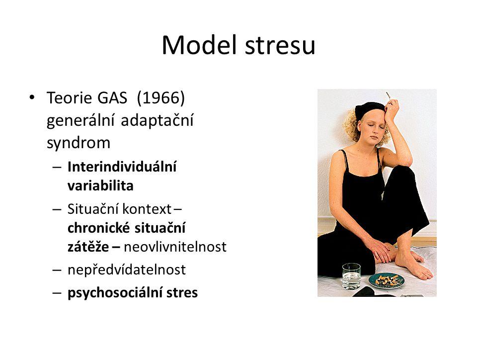 Model stresu Teorie GAS (1966) generální adaptační syndrom – Interindividuální variabilita – Situační kontext – chronické situační zátěže – neovlivnit