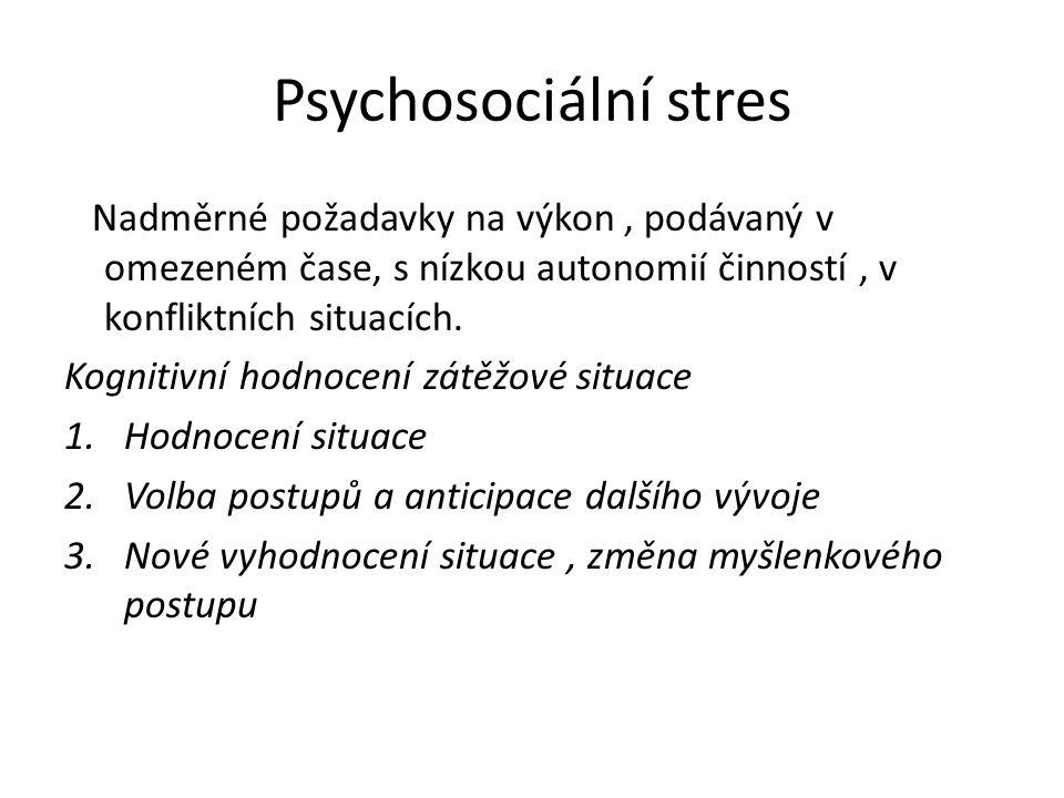 Psychosociální stres Nadměrné požadavky na výkon, podávaný v omezeném čase, s nízkou autonomií činností, v konfliktních situacích. Kognitivní hodnocen