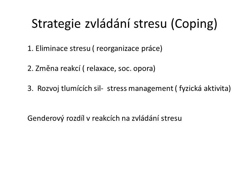 Strategie zvládání stresu (Coping) 1. Eliminace stresu ( reorganizace práce) 2. Změna reakcí ( relaxace, soc. opora) 3. Rozvoj tlumících sil- stress m