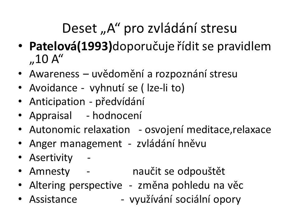 """Deset """"A"""" pro zvládání stresu Patelová(1993)doporučuje řídit se pravidlem """"10 A"""" Awareness – uvědomění a rozpoznání stresu Avoidance - vyhnutí se ( lz"""