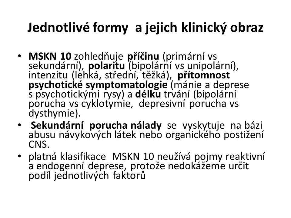 Jednotlivé formy a jejich klinický obraz MSKN 10 zohledňuje příčinu (primární vs sekundární), polaritu (bipolární vs unipolární), intenzitu (lehká, st