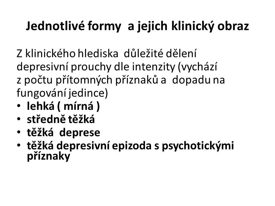 Jednotlivé formy a jejich klinický obraz Z klinického hlediska důležité dělení depresivní prouchy dle intenzity (vychází z počtu přítomných příznaků a