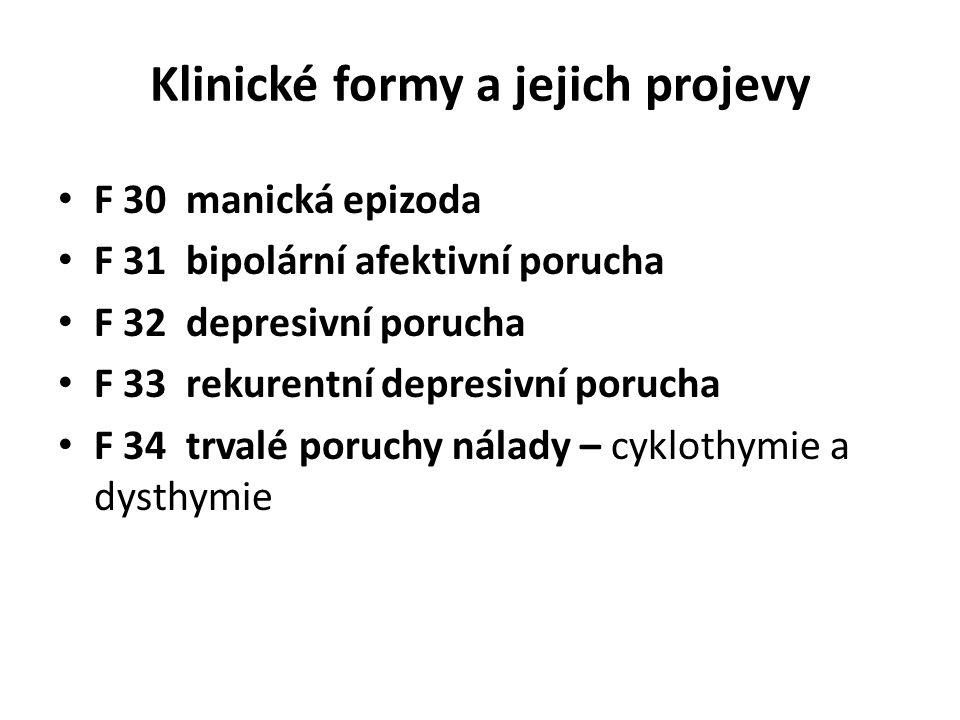Klinické formy a jejich projevy F 30 manická epizoda F 31 bipolární afektivní porucha F 32 depresivní porucha F 33 rekurentní depresivní porucha F 34