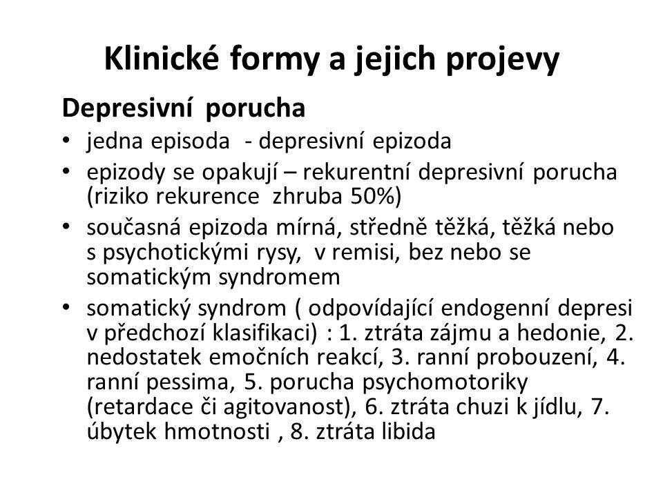 Klinické formy a jejich projevy Depresivní porucha jedna episoda - depresivní epizoda epizody se opakují – rekurentní depresivní porucha (riziko rekur