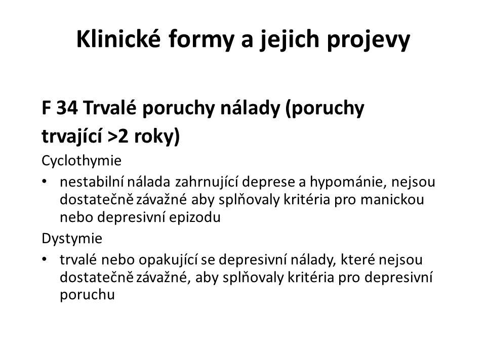 Klinické formy a jejich projevy F 34 Trvalé poruchy nálady (poruchy trvající >2 roky) Cyclothymie nestabilní nálada zahrnující deprese a hypománie, ne