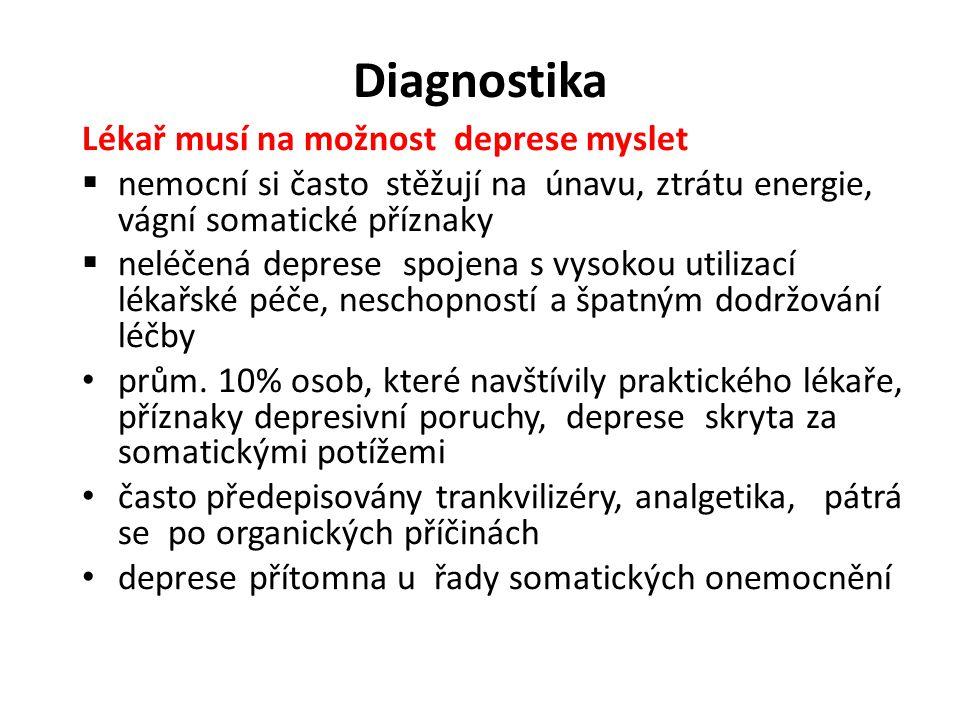 Diagnostika Lékař musí na možnost deprese myslet  nemocní si často stěžují na únavu, ztrátu energie, vágní somatické příznaky  neléčená deprese spoj