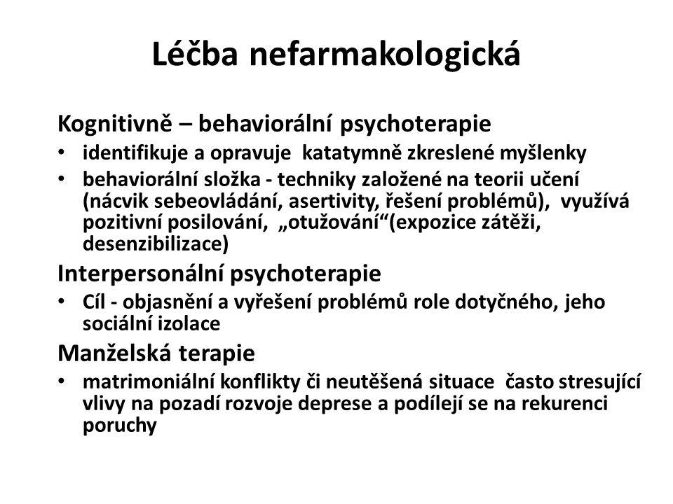 Léčba nefarmakologická Kognitivně – behaviorální psychoterapie identifikuje a opravuje katatymně zkreslené myšlenky behaviorální složka - techniky zal