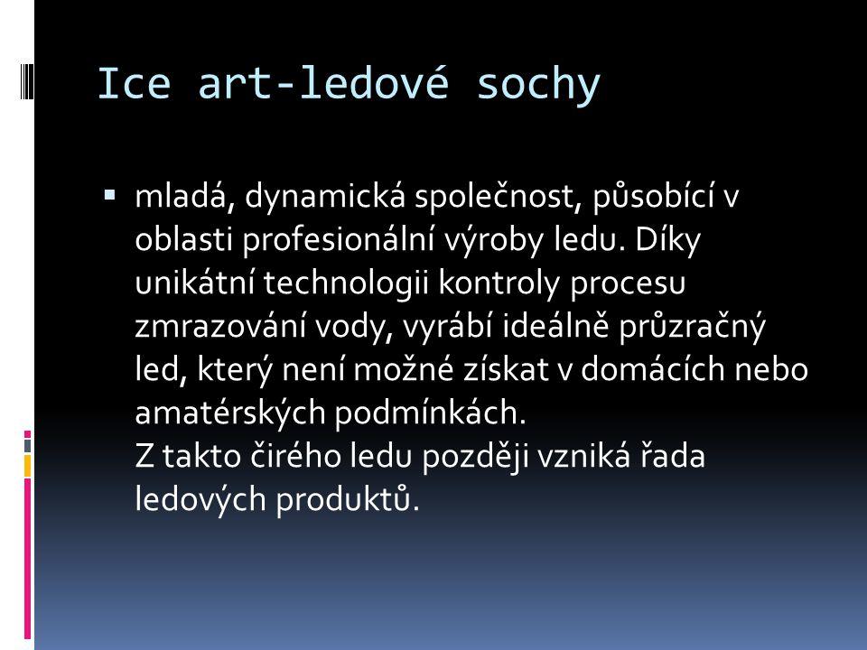 Ice art-ledové sochy  mladá, dynamická společnost, působící v oblasti profesionální výroby ledu.