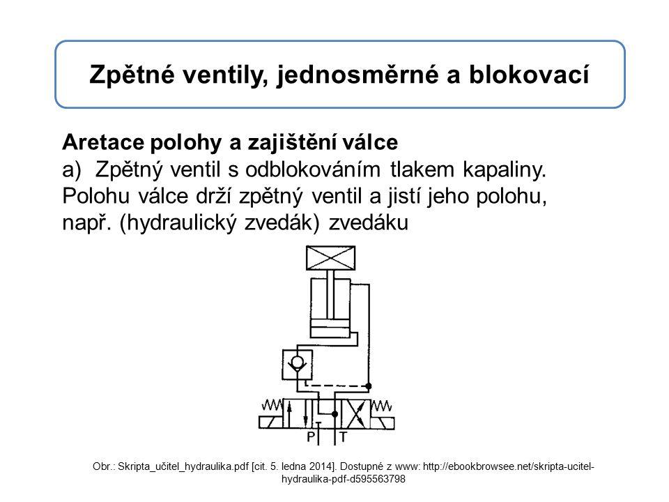 Aretace polohy a zajištění válce a)Zpětný ventil s odblokováním tlakem kapaliny.