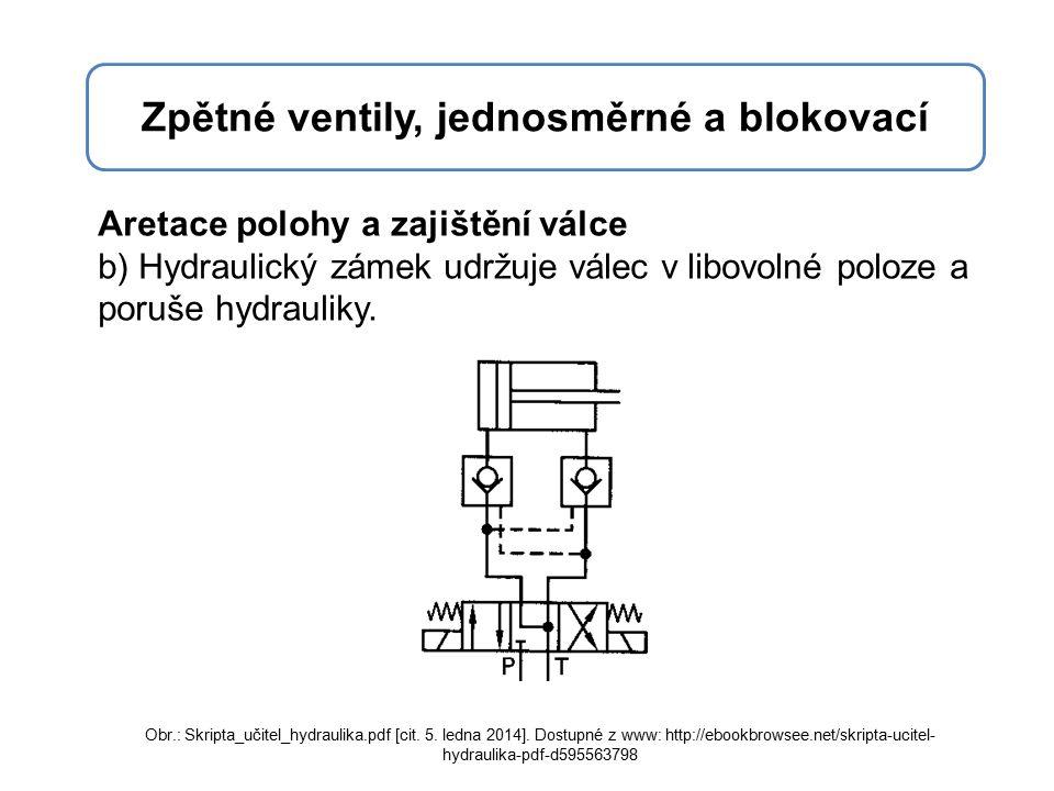 Zpětné ventily, jednosměrné a blokovací Aretace polohy a zajištění válce b) Hydraulický zámek udržuje válec v libovolné poloze a poruše hydrauliky.