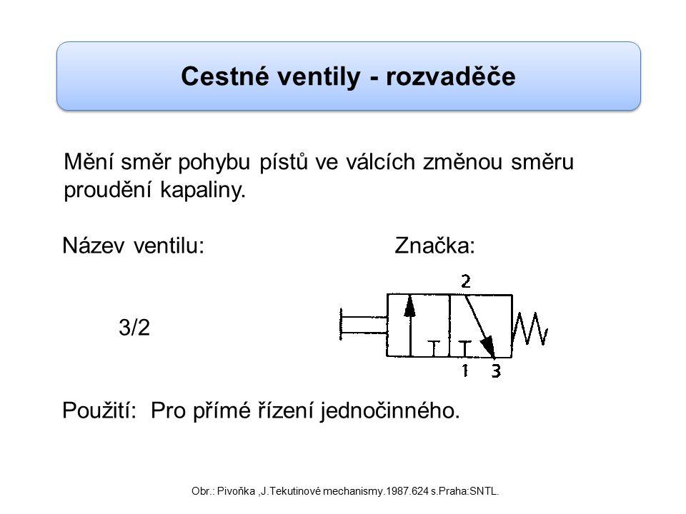 Cestné ventily - rozvaděče Název ventilu: Značka: 4/2 5/2 Použití: Pro změnu směru pohybu nebo rotace dvojčinného válce.