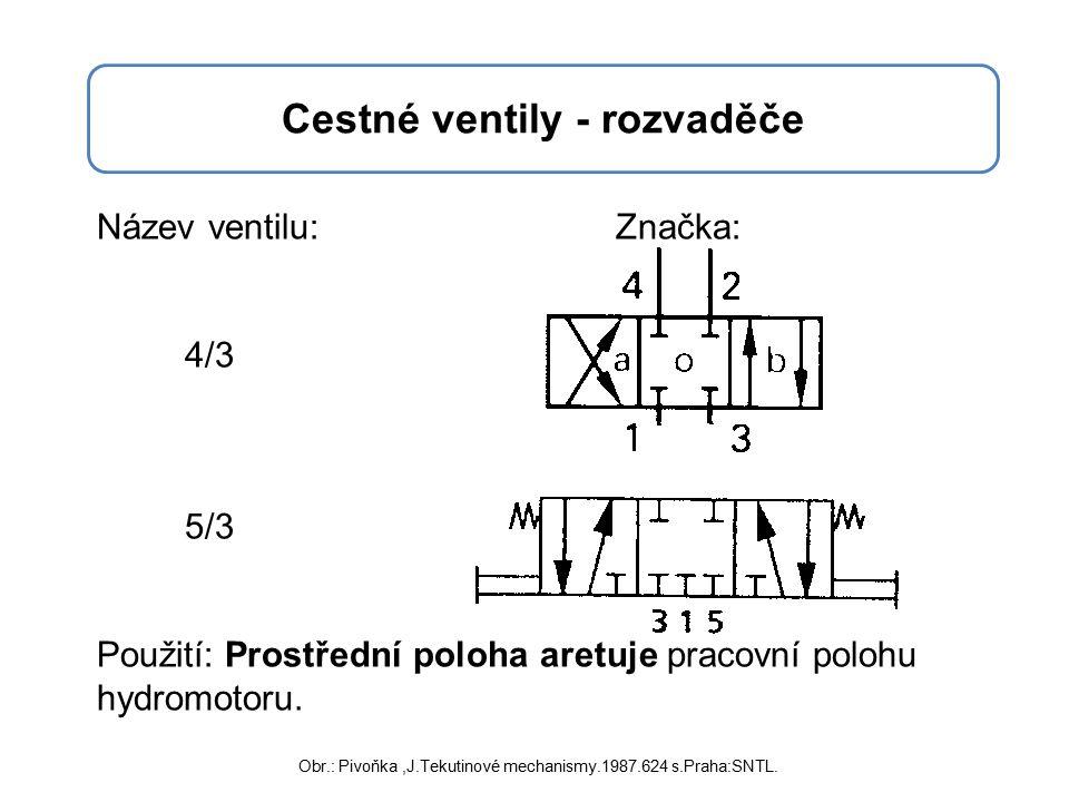 Cestné ventily - rozvaděče Název ventilu: Značka: 4/3 5/3 Použití: Prostřední poloha aretuje pracovní polohu hydromotoru.