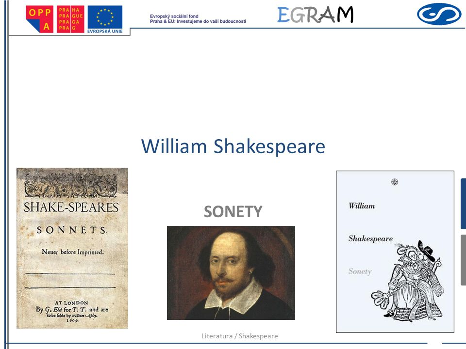EGRAMEGRAM William Shakespeare SONETY Literatura / Shakespeare