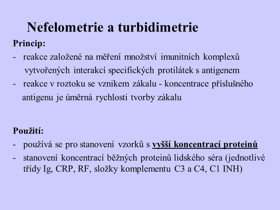 Nefelometrie a turbidimetrie Princip: -reakce založené na měření množství imunitních komplexů vytvořených interakcí specifických protilátek s antigene