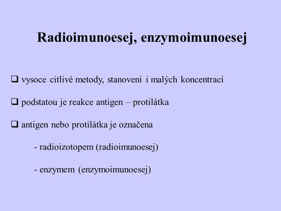 Radioimunoesej, enzymoimunoesej  vysoce citlivé metody, stanovení i malých koncentrací  podstatou je reakce antigen – protilátka  antigen nebo prot
