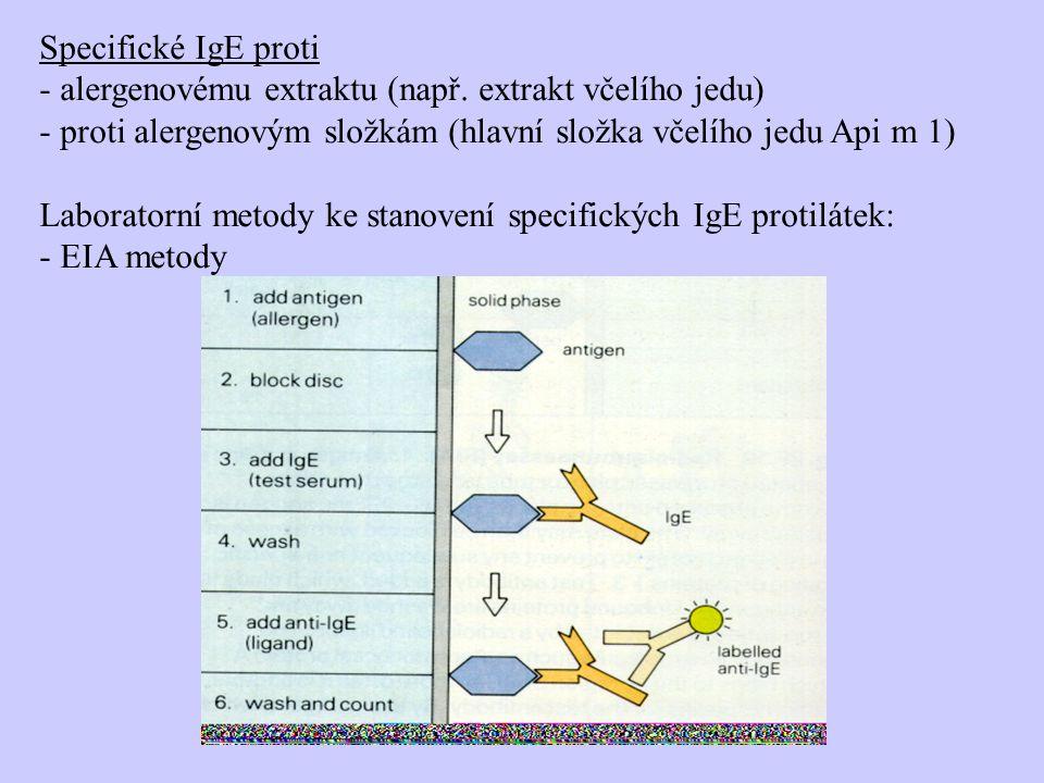 Specifické IgE proti - alergenovému extraktu (např. extrakt včelího jedu) - proti alergenovým složkám (hlavní složka včelího jedu Api m 1) Laboratorní