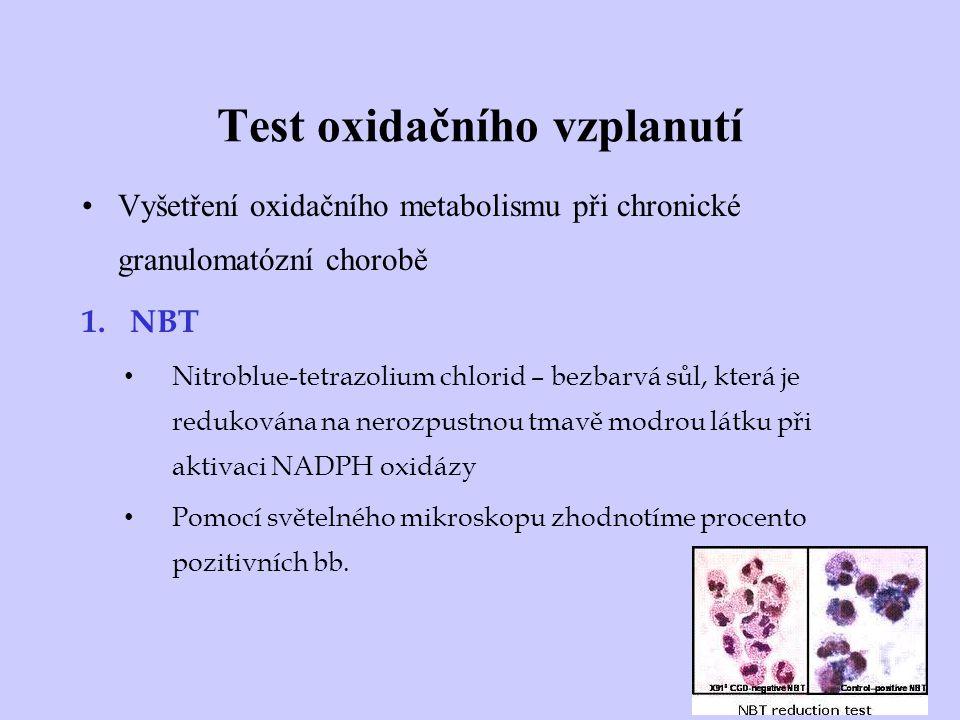 Test oxidačního vzplanutí Vyšetření oxidačního metabolismu při chronické granulomatózní chorobě 1.NBT Nitroblue-tetrazolium chlorid – bezbarvá sůl, kt