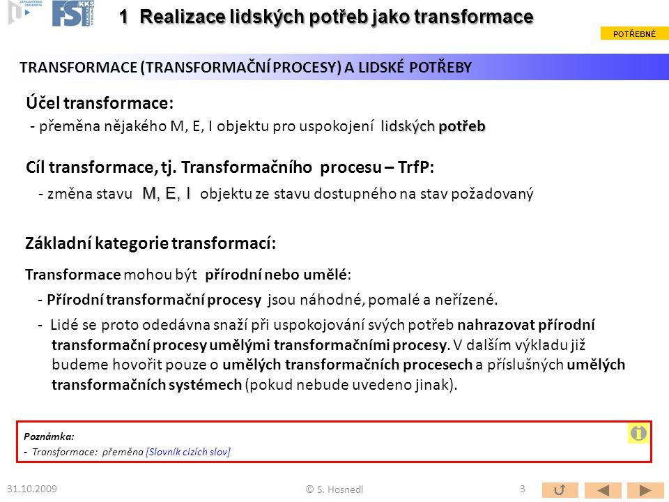 Účel transformace: lidských potřeb - přeměna nějakého M, E, I objektu pro uspokojení lidských potřeb Cíl transformace, tj.