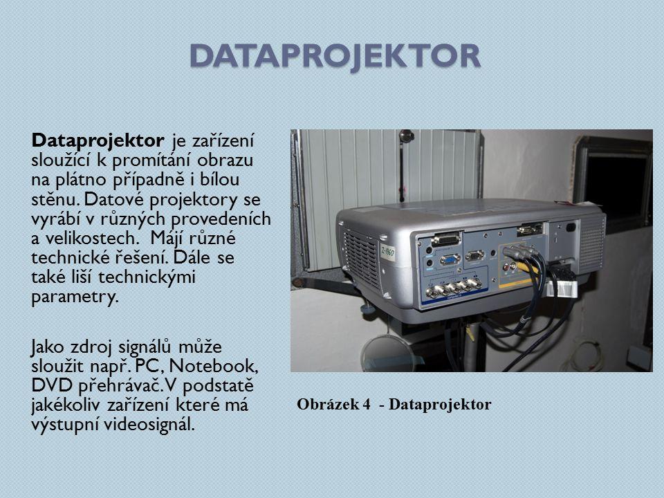 DATAPROJEKTOR Dataprojektor je zařízení sloužící k promítání obrazu na plátno případně i bílou stěnu. Datové projektory se vyrábí v různých provedeníc