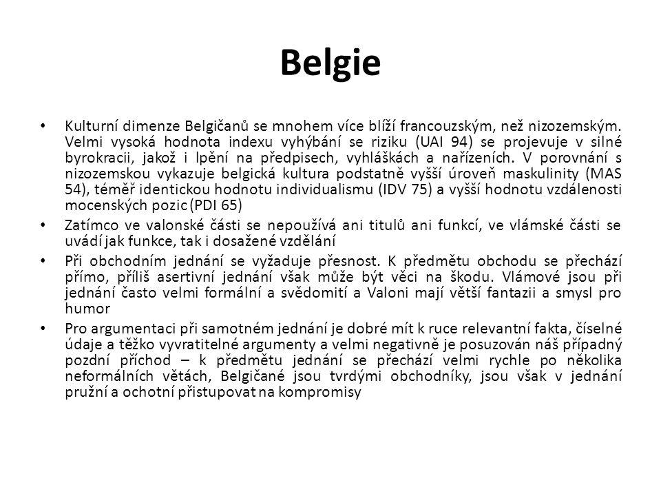 Belgie Kulturní dimenze Belgičanů se mnohem více blíží francouzským, než nizozemským. Velmi vysoká hodnota indexu vyhýbání se riziku (UAI 94) se proje