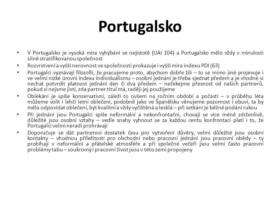 Portugalsko V Portugalsko je vysoká míra vyhýbání se nejistotě (UAI 104) a Portugalsko mělo vždy v minulosti silně stratifikovanou společnost Rozvrstv
