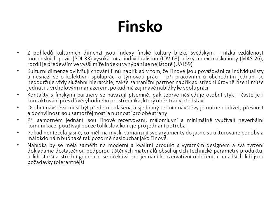 Finsko Z pohledů kulturních dimenzí jsou indexy finské kultury blízké švédským – nízká vzdálenost mocenských pozic (PDI 33) vysoká míra individualismu