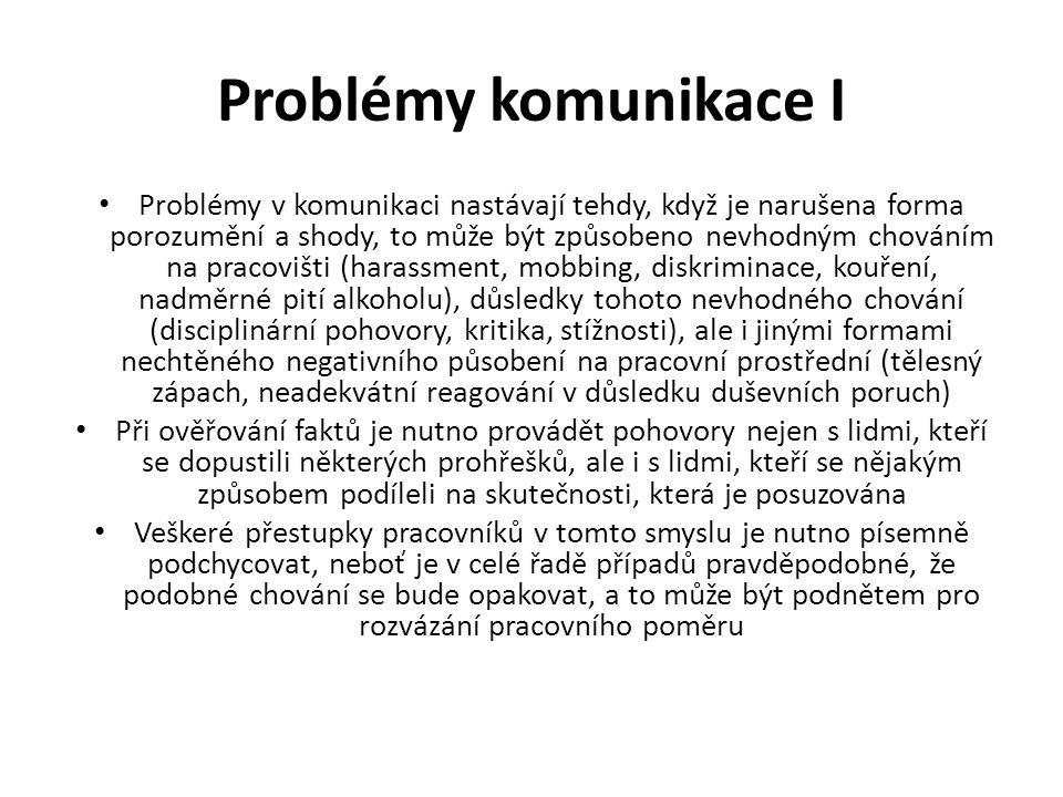 Problémy komunikace I Problémy v komunikaci nastávají tehdy, když je narušena forma porozumění a shody, to může být způsobeno nevhodným chováním na pr