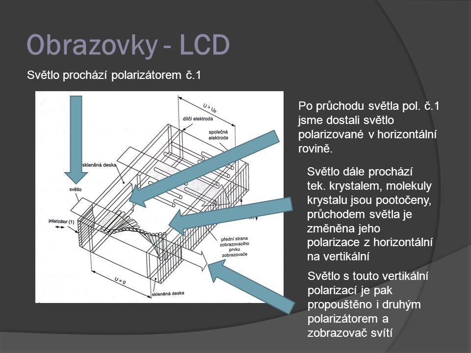 Obrazovky - LCD Světlo prochází polarizátorem č.1 Po průchodu světla pol. č.1 jsme dostali světlo polarizované v horizontální rovině. Světlo dále proc