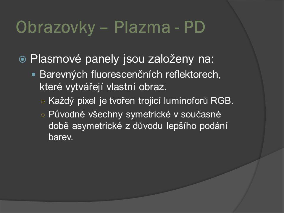 Obrazovky – Plazma - PD  Plasmové panely jsou založeny na: Barevných fluorescenčních reflektorech, které vytvářejí vlastní obraz. ○ Každý pixel je tv