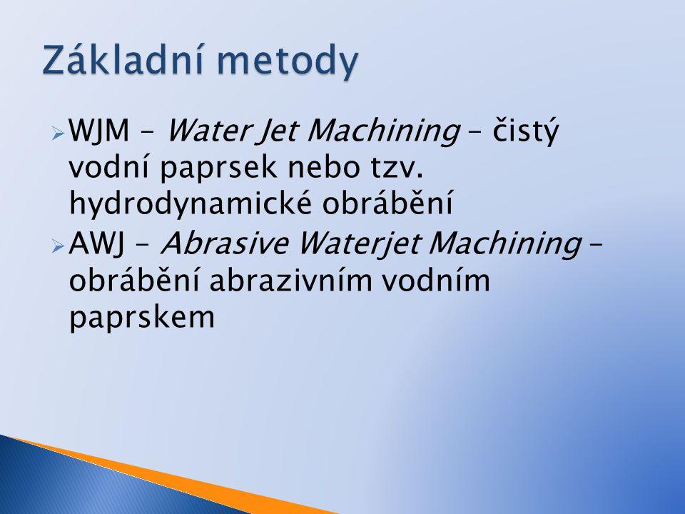  WJM – Water Jet Machining – čistý vodní paprsek nebo tzv. hydrodynamické obrábění  AWJ – Abrasive Waterjet Machining – obrábění abrazivním vodním p
