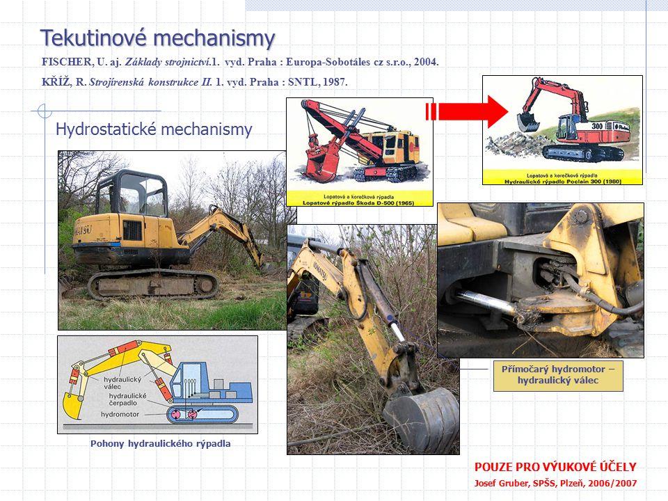 Tekutinové mechanismy POUZE PRO VÝUKOVÉ ÚČELY Josef Gruber, SPŠS, Plzeň, 2006/2007 Hydrostatické mechanismy FISCHER, U. aj. Základy strojnictví.1. vyd